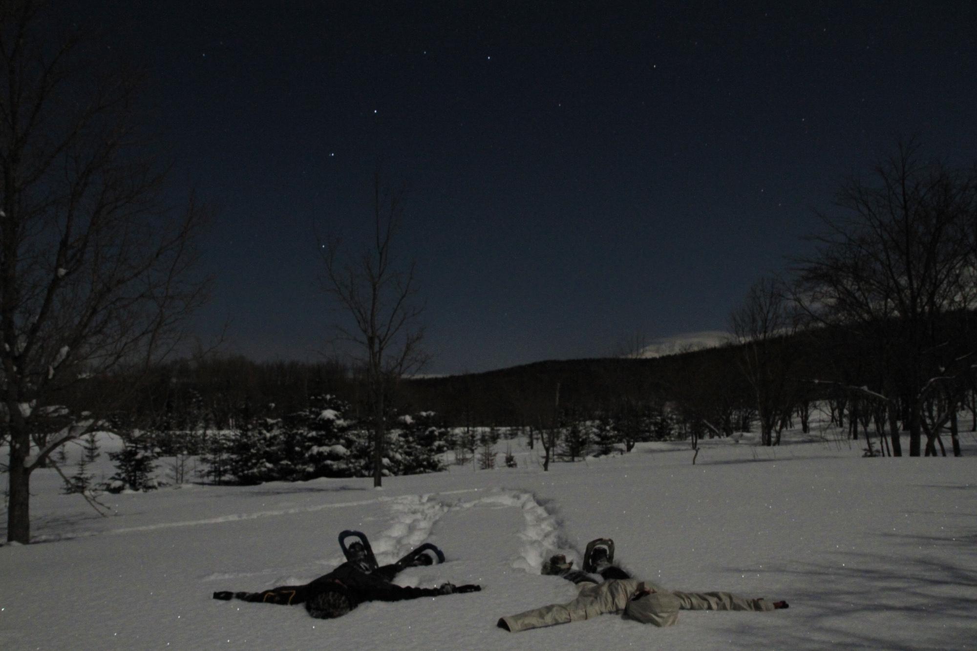 雪に寝転んで、夜空を見上げて耳を澄ませてみる時間。