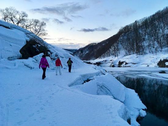 大理石のような雪の上を歩く