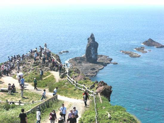 毎年多くの観光客が訪れる絶景の岬